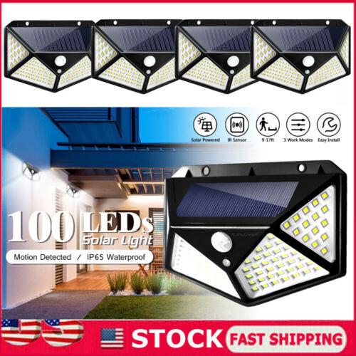 4 100 LED Solar Light PIR Motion Sensor Outdoor Garden Security Lamp Waterproof