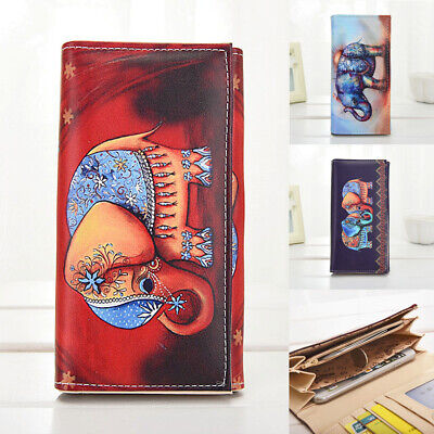 US Women Leather Clutch Wallet Elephant Long Card Holder Case Purse Lady (Elephant Card Holder)