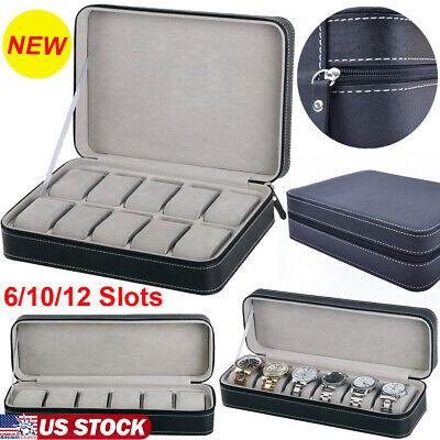 6/10/12 Slots Portable Travel Zipper Watch Display Storage Jewelry Box Case US