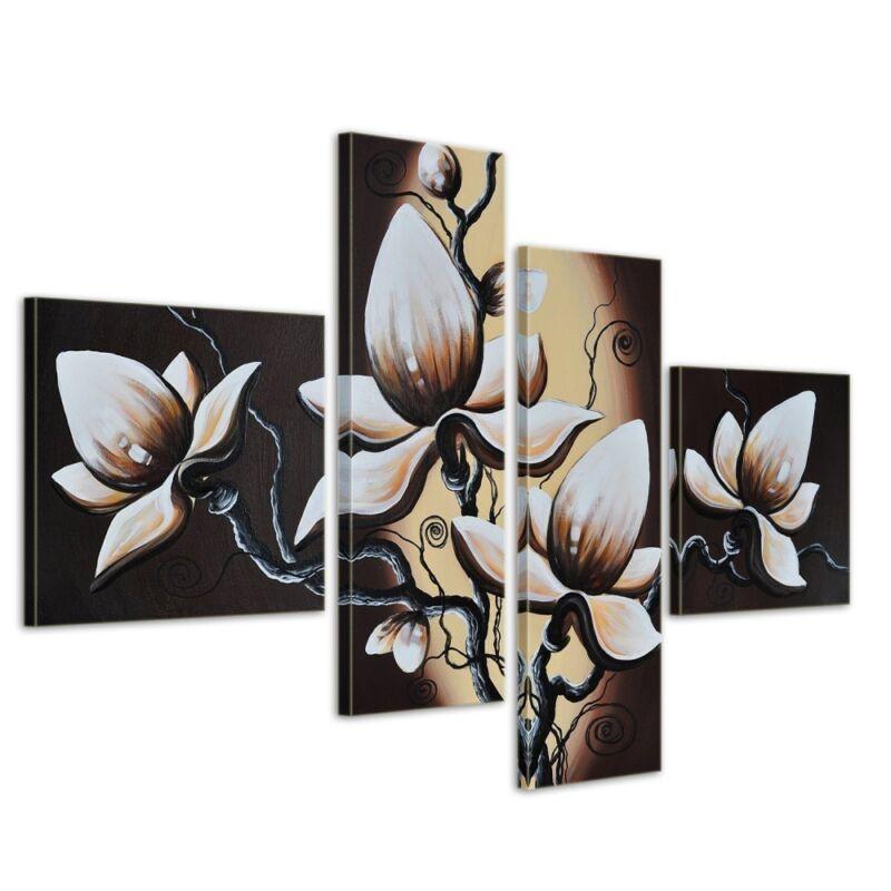 Blumen+M1+-+Leinwandbild+4+teilig+100x70cm+Handgemalt