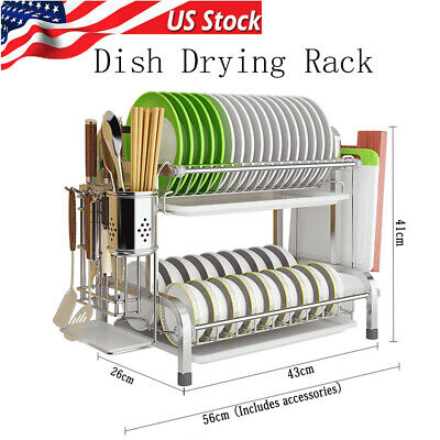 Dish Drying Rack 304 Stainless Steel 2 Tier Dish Rack with Trays Utensil Holder