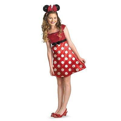 Girls Minnie Mouse Costume Fancy Dress Headband Red Disney Teen Tween Child Kids - Tween Girls Costumes