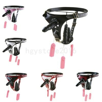 Triple Plugs PU-Leather Strap on Harness Chastity Belt Panties strap-on vibrate