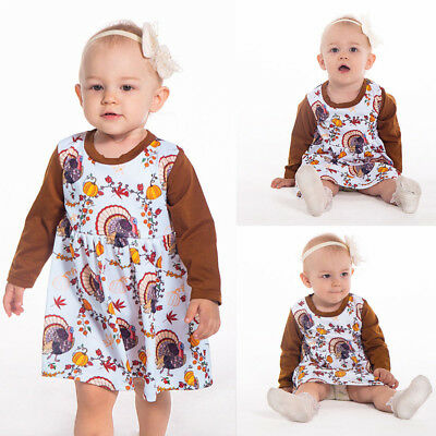 Cute Infant Baby Girl Long Sleeve Thanksgiving Day Pumpkin Print Dress Outfit - Cute Baby Girl Thanksgiving Outfit