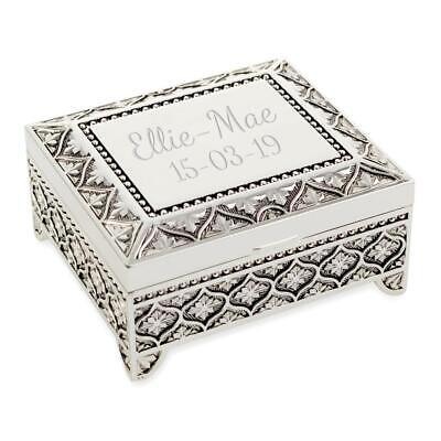 Personalised Art Deco Style Trinket/Jewellery Box Floral Pattern - Engraved