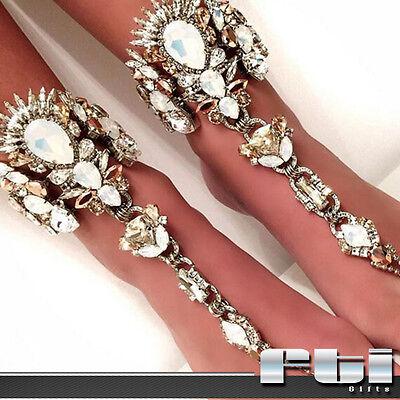 Silver & Gold Crystal Rhinestone Foot Anklet Bracelet Barefoot Sandal Jewelry