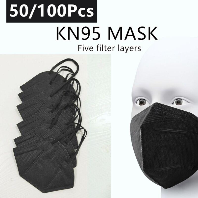 50/100 Pcs Black KN95 Face Mask 5-Layer Cover Protection Respirator Masks K-N95