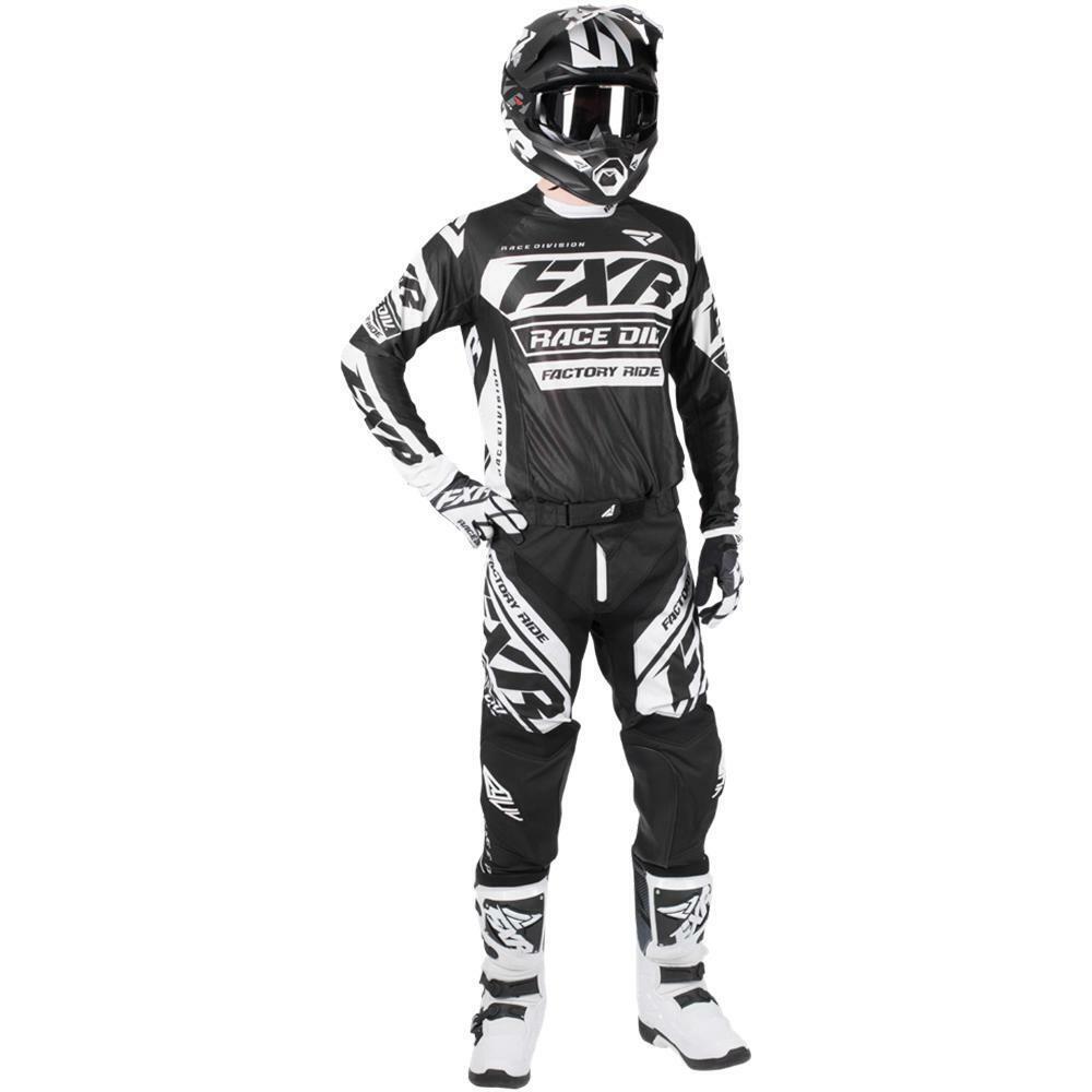 Neu FXR Racing Revo Schwarz Weiß Motocross Enduro Jersey Hose Combo Kit OUTLET