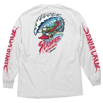1bbe7274 Santa Cruz Keith Meek WAVE SLASHER LONG SLEEVE Skateboard Shirt WHITE LARGE