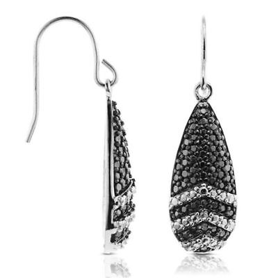 Pave Diamond Drop - .925 Sterling Silver 0.08 CT Black Diamond Dangle Drop Pave Earrings Fish Hook