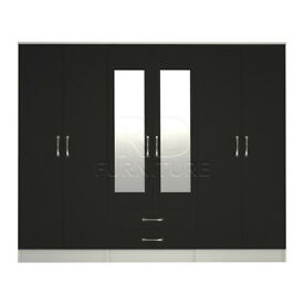 Beatrice wardrobe 4 you, 2,28m wide 6 door white and black wardrobe