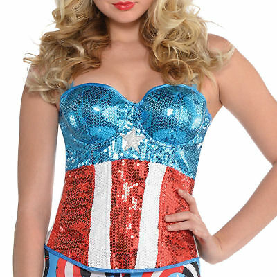 NEW American Dream Sequin Corset Marvel Superhero Halloween Adult Costume S / M](Marvel Superheroes Costumes)