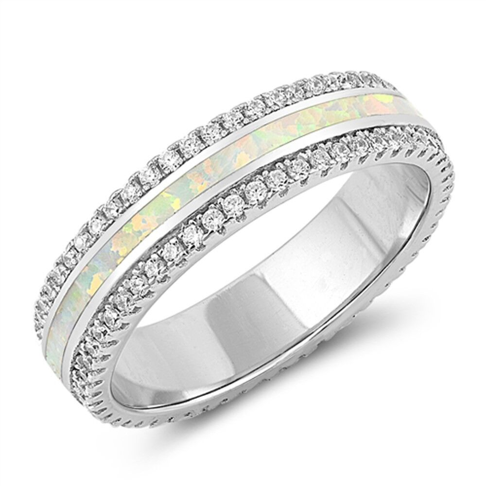 White Opal & Cz Band .925 Sterling Silver Ring Sizes 5-10