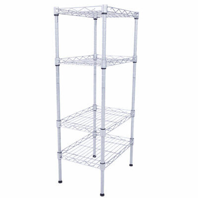 4 Tier Wire Shelving Unit Adjustable Metal Shelf Rack Kitchen Storage Organizer