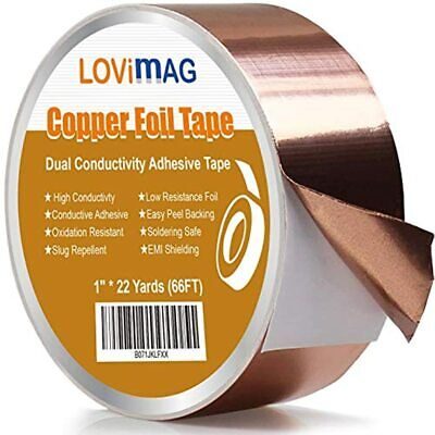 Copper Foil Tape 1inch X 66 Ft Conductive Adhesive Guitar Emi Shielding Slug