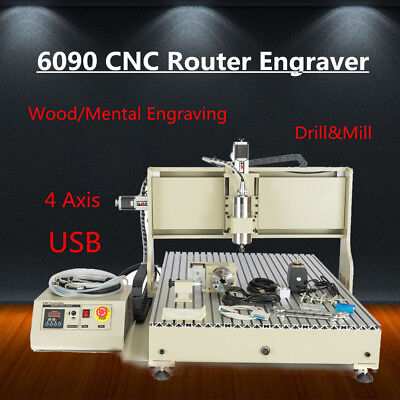 Usb 4axis 6090 Cnc Router Engraver Metal Wood Engraving Machine Carver 1500w Vfd