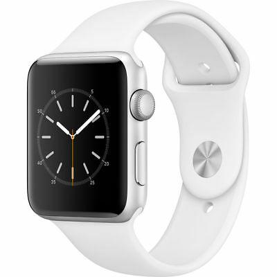 New Apple Watch Series 2 42Mm Silver Aluminum Case White Sport Band Mnpj2ll A