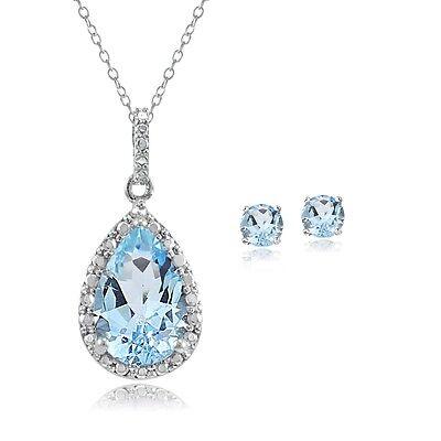 925 Silver 4.3ct Blue Topaz & Diamond Teardrop Necklace & Earrings Set