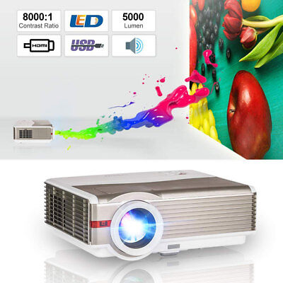 EUG HD 5000lms LED Home Theater 1080p Projector Movie Night HDMI*2 USB VGA Xbox