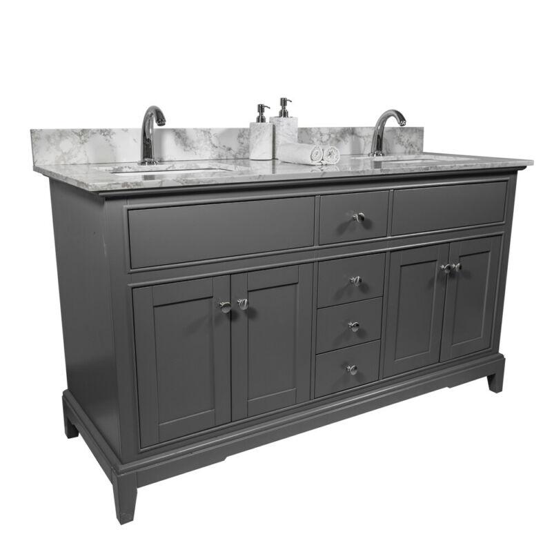 61x22in bathroom stone vanity top with double rectangle undermount ceramic sink