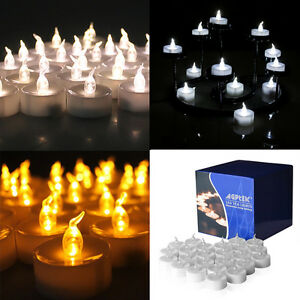 24-60-100-PCS-Electronic-Tea-Light-LED-Candle-Cool-White-Warm-White-Amber-Yellow