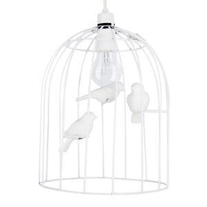 Contemporary Gloss White Bird Cage Ceiling Pednant Light Shade Ceramic Birds
