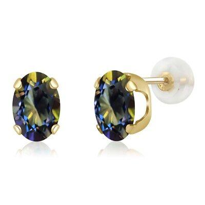 14K Yellow Gold 1.60 Ct Oval 7x5mm Blue Mystic Topaz Stud - 14k Mystic Topaz Earrings