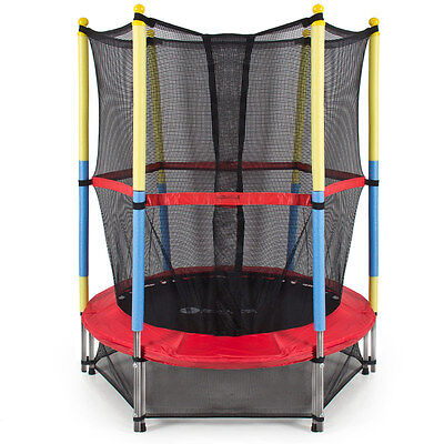 """55"""" Round Kids Mini Trampoline with Enclosure Net Pad Rebounder Outdoor Exercise"""