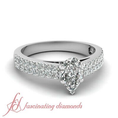 .80 Ct Pear Shaped VS2-D Color Diamond Double Row Pave Set Engagement Ring GIA