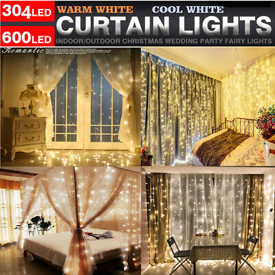 100/304 LED Fairy String Hanging Icicle Snowing Curtain Light Outdoor Xmas Party (Led Hanging Lights)