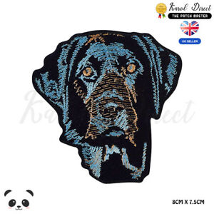 Dog-Blue-Labrador-Dog-Embroidered-Iron-On-Sew-On-Patch-Badge-For-Clothes-etc