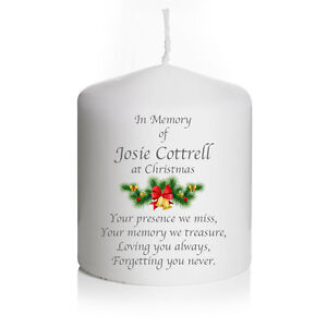 Personalised Christmas In Loving Memory Remembrance Candle Absence keepsake