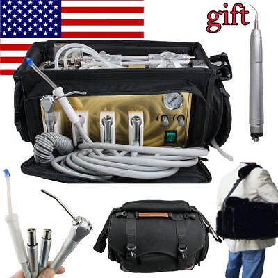410w 4h Portable Dental Turbine Unit Air Compressor Air Scaler Syringe Bag Usa