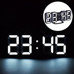 LED Digital Alarm Clock Night Light, 3D Number Style Modern Clocks Adjustable