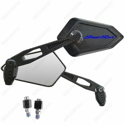 PAIR OF MIRRORS MIRROR APPROVED STREET CARBON LOOK BLUE LOGO PEUGEOT SPEEDFIGHT