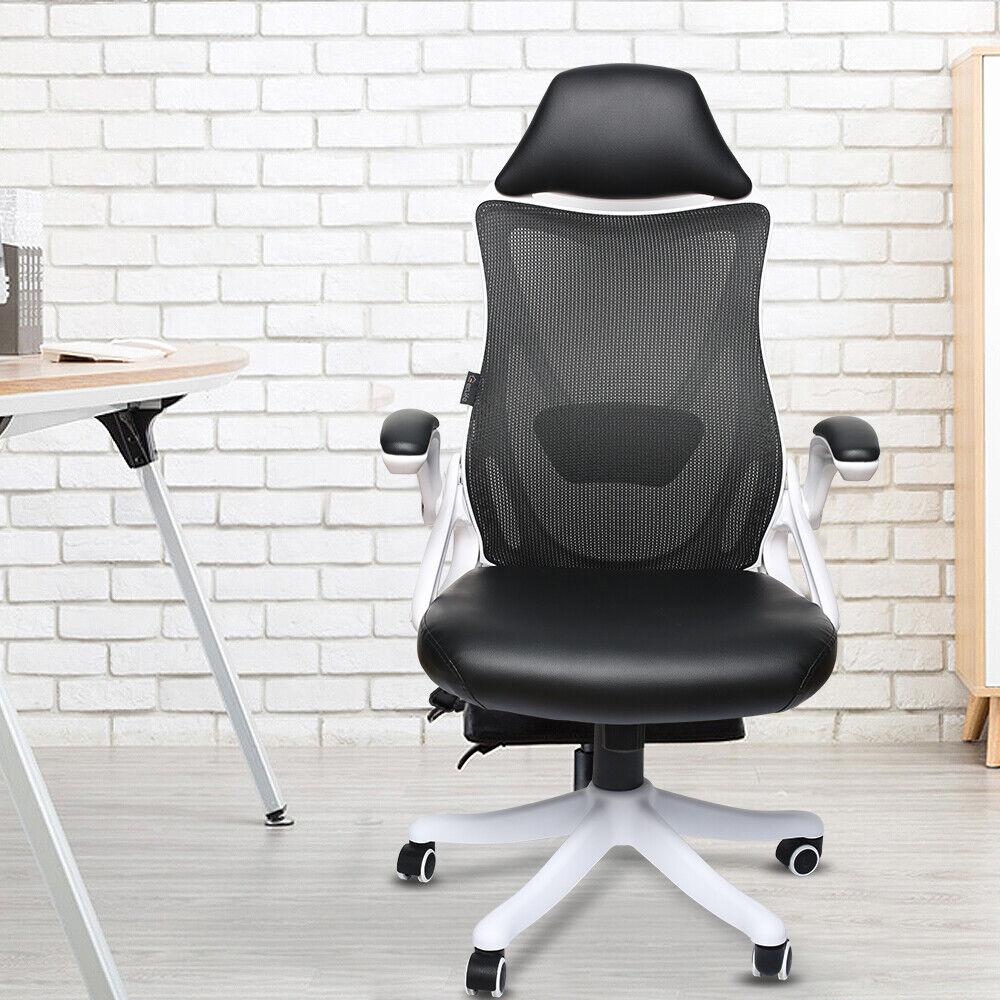 Ergonomic High Back Office Chair Mesh PU White