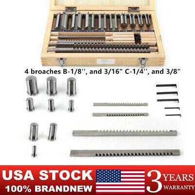 18pcs Hss Keyway Broach Kit Set 4 Broaches 9 Collared Bushings 5 Shims Usa Ship