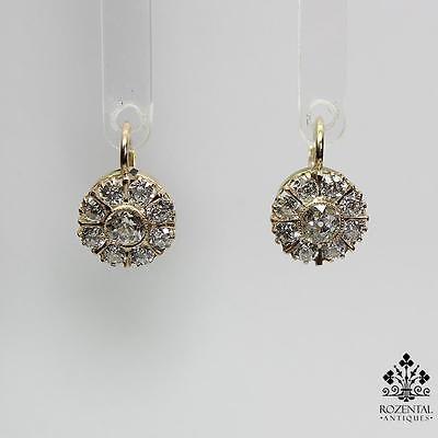 Antique Victorian 18K Gold Diamond Earrings