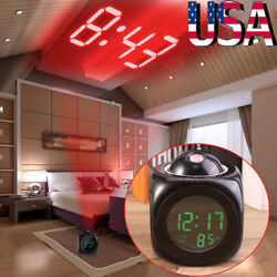US Voice LCD Screen Alarm Digital Clock Time Wall Ceiling Projection for Bedroom