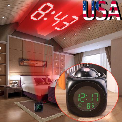 US Voice LCD Screen Alarm Digital Clock Time Wall Ceiling Pr