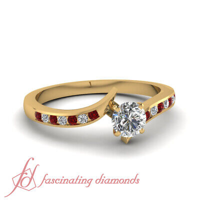 Round Cut Conflict Free Diamond And Ruby Channel Set Engagement Ring 1.15 Ct GIA