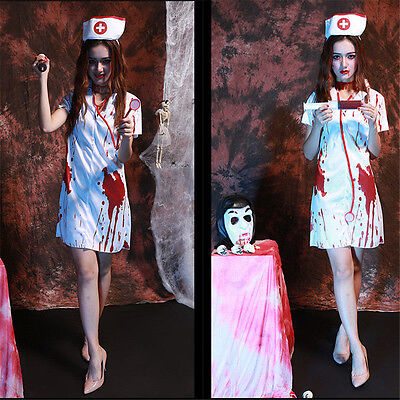 Zombie Nurse Outfit Halloween (Ladies Halloween Zombie Bloody Nurse Costume Fancy Dress Party Outfits)