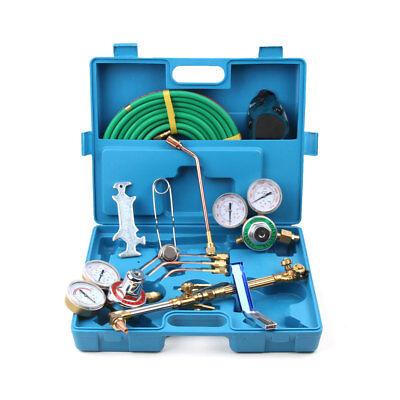 Gas Welding Cutting Welder Kit Oxy Acetylene Oxygen Torch W 15hose Plastic Case