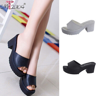 Women Fashion High Heel Leather Platform Shoes Ladies Wedges Flip Flop Sandals