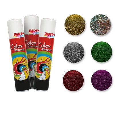 Glitzer Haarspray 100 ml, Colorspray Glitter Haarfarbe Bunte Haare