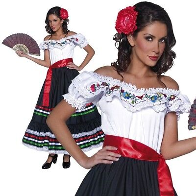 Senorita Costume Mexican Spanish Lady Wild West Ladies Fancy Dress UK 8-18 (Wild West Fancy Dress Kostüme Uk)