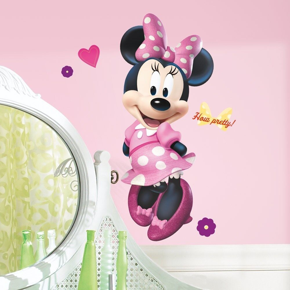"Minnie Mouse Bow-tique 40"" Giant Wall Decal Disney Room Stickers Pink Decor"