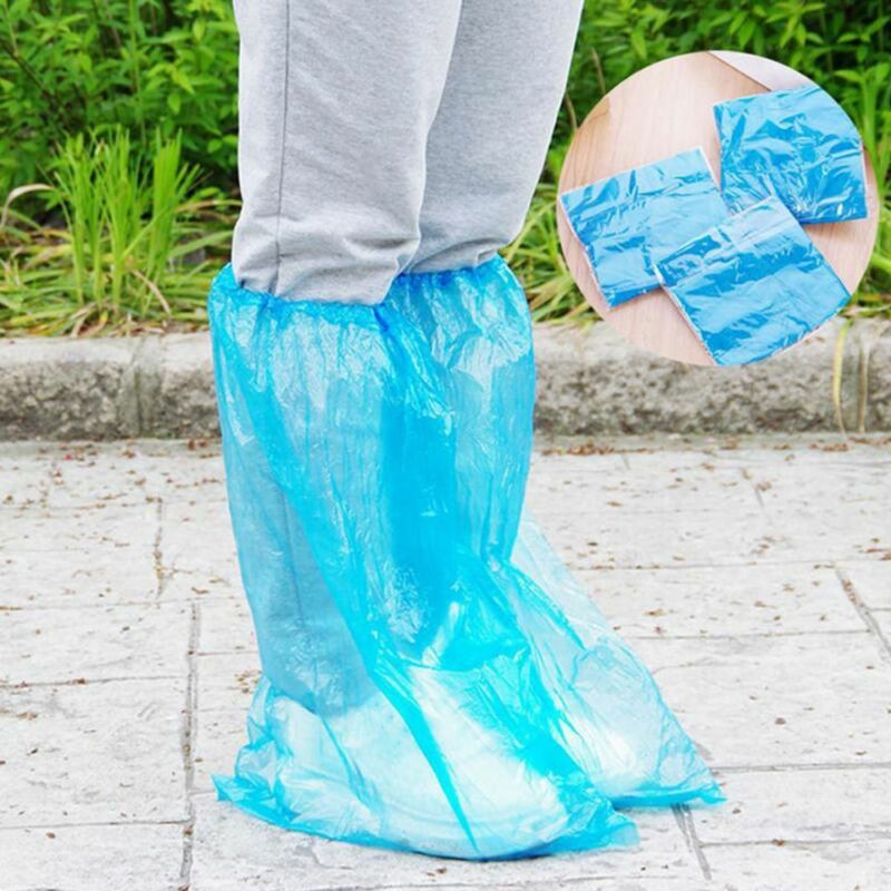 10Pairs Disposable Anti-Slip Shoe Covers Waterproof Rain Boo