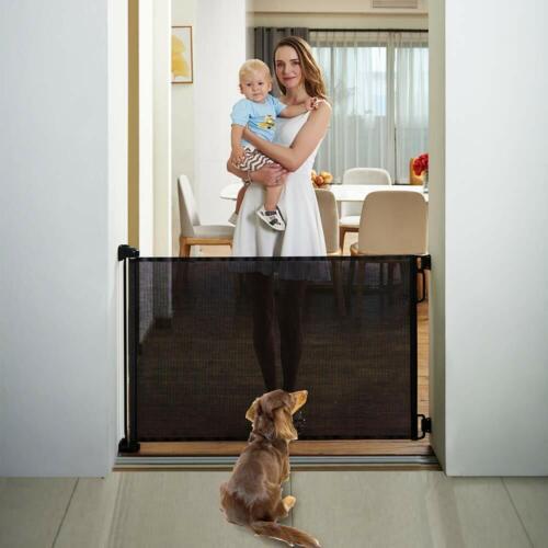 "EasyBaby Products Indoor Outdoor Retractable Baby Gate, 33"" Tall, Black"