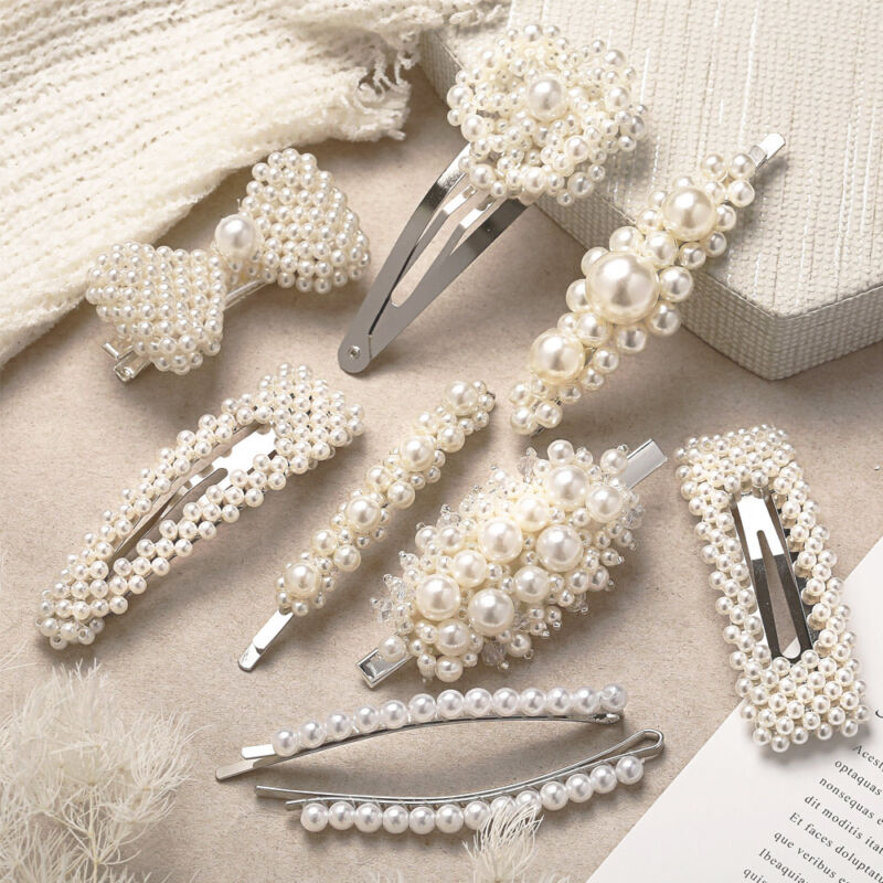 Korean Design Snap Barrette Sweet Hairgrip Stick Hairpin Pearl Hair Clip Ebay